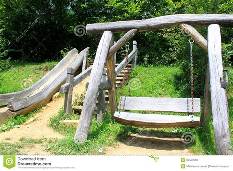 wooden slide and swing wooden swing and slide for children royalty free stock