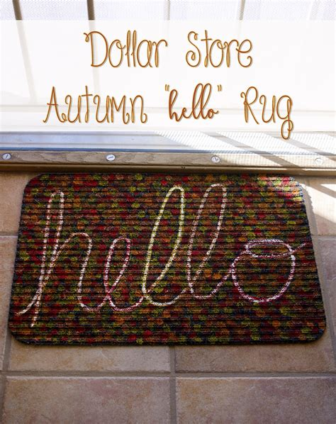 dollar store rugs make an easy autumn quot hello quot mat with a dollar store rug