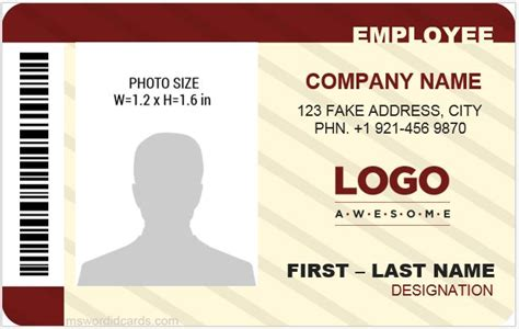 employee id card template 5 best office id card templates ms word microsoft word
