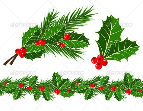 holly leaves and berries graphicriver