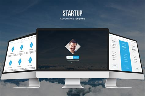 Startup Responsive Muse Template Website Templates On Creative Market Startup Website Template