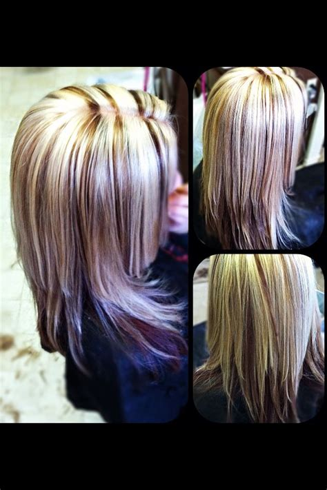brown hair with platinum highlights platinum blonde highlights red brown hair color under