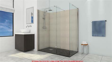 Bath Shower Cubicle deluxe10 1100mm wet room shower screen 10mm glass walk in