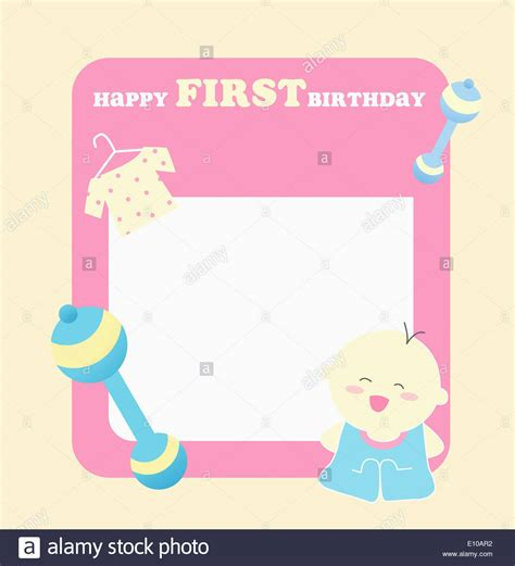 1st birthday greeting card template a card template wishing happy birthday stock photo