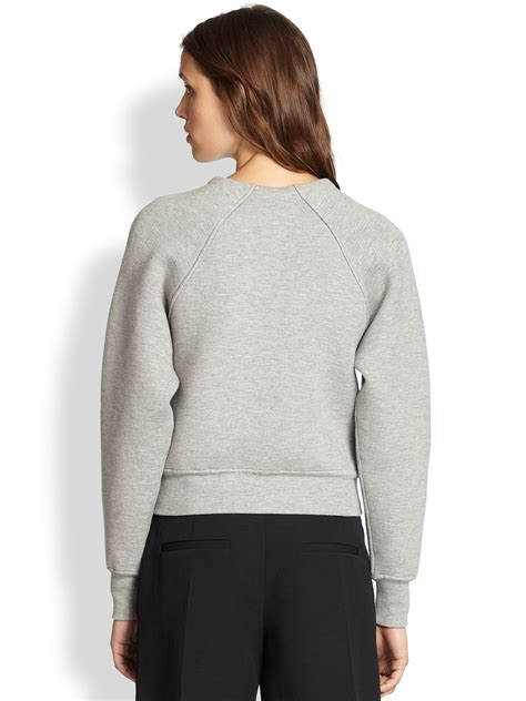 lyst wang raglan sleeved sweater in gray