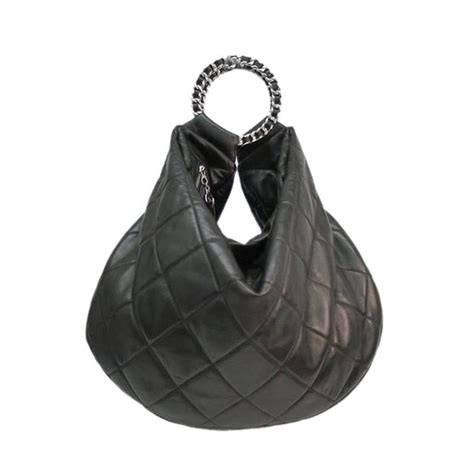 Chanel Quilted Bag Silver Chain by Chanel Black Quilted Lambskin Leather Silver Chain