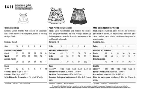 sewing pattern ease chart simplicity 1411 it s so easy toddlers dress