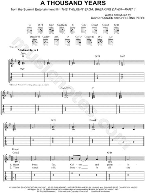tutorial gitar thousand years partition guitare a thousand years christina perri