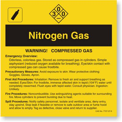 Nitrogen Gas Ansi Chemical Label Sku Lb 1584 095