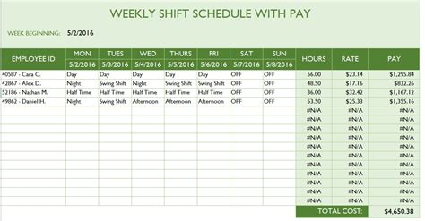 100 12 hour shift schedule template excel dashboard