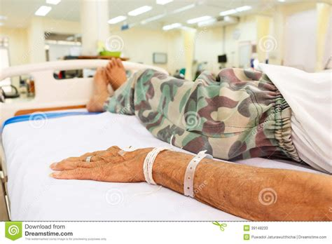er bed patient lie on bed in emergency room stock photo image