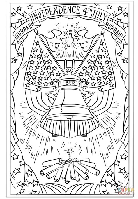 fourth of july coloring pages pdf hurrah independence 4th july postcard coloring page