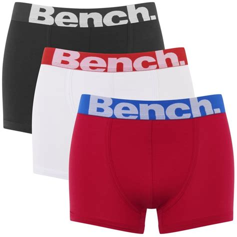 bench boxers bench men s 3 pack large logo band boxers red black