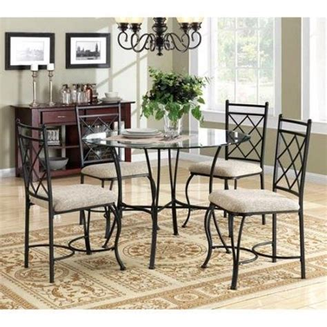 Metal Dining Table And Chairs 5 Metal Dining Set Glass Top Table And Chairs Dinette Dining Room Ebay