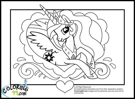 free coloring pages of celestia my little pony