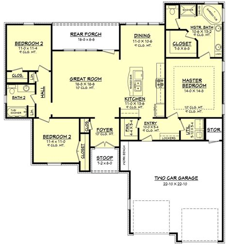 Dual Master Bedroom Floor Plans by European Style House Plan 3 Beds 2 Baths 1600 Sq Ft Plan