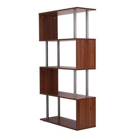 homcom wooden s shape bookcase walnut aosom co uk