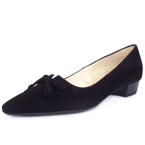 heeled shoe kaiser lizzy pointed toe low heel shoes in black suede