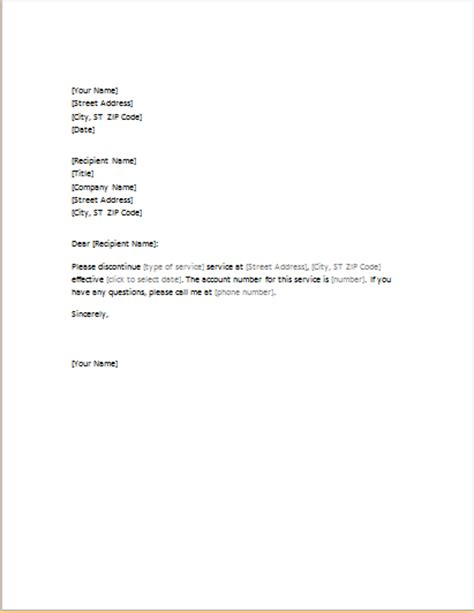 letter requesting cancellation of services word excel