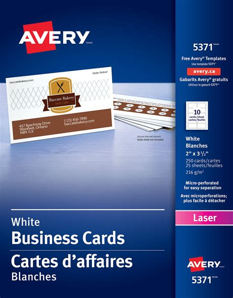 avery laser business cards 5371 template business cards