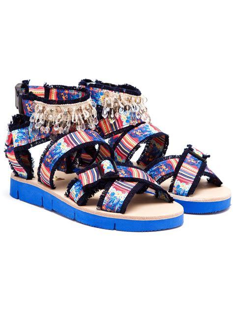 blue gladiator sandals msgm embellished canvas gladiator sandals in blue lyst