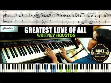 tutorial piano whitney houston greatest love of all piano tutorial sheet music guide