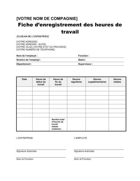 Exemple De Lettre Heures Supplémentaires Formulaire D Enregistrement Des Heures De Travail Template Sle Form Biztree