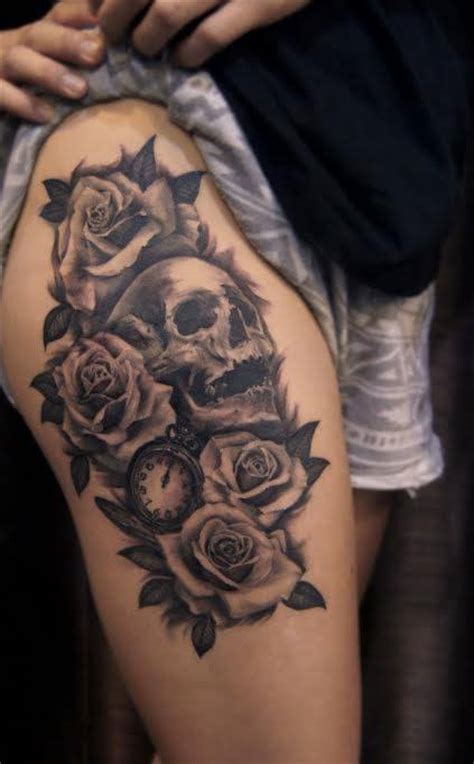 thigh roses skull and pocket watch tattoo chronic ink