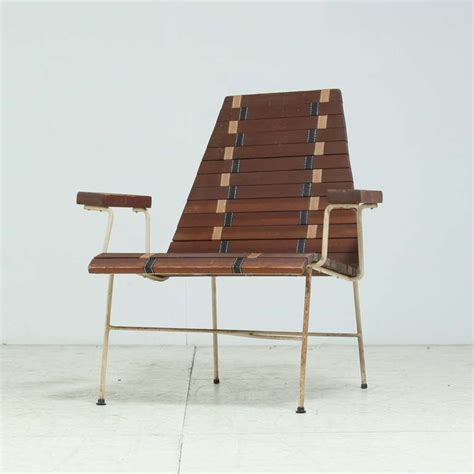 rare mid century modern chair in oregon pine and metal for