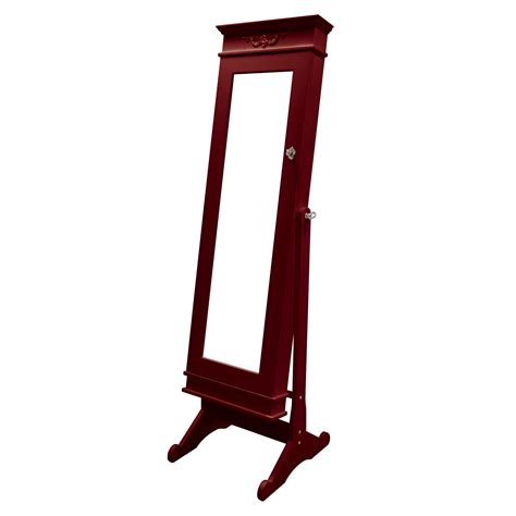 Free Standing Length Mirror Jewelry Armoire by Baxton Studio Bimini Brown Finish Wood Crown Molding Top