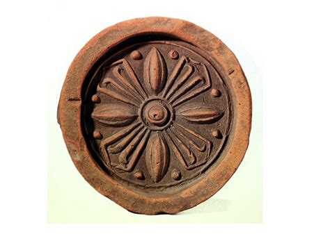 roof end tile with lotus pattern goguryeo the central