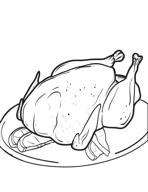 free printable cooked thanksgiving turkey coloring page