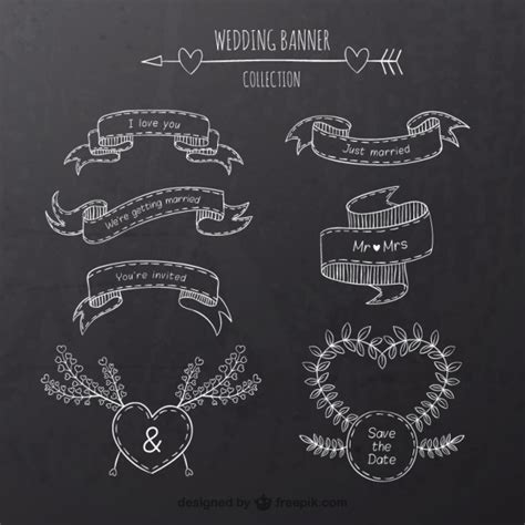 Wedding Banner Vector by Wedding Banners On Blackboard Vector Free