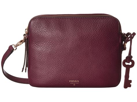 Tas Fossil Sydney Zipper Maroon fossil sydney crossbody in purple lyst