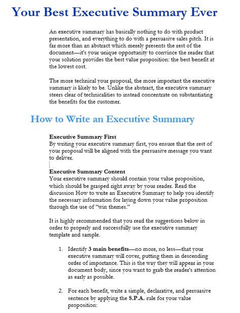 5 free sle executive summary template for customer