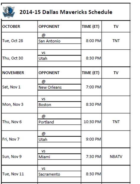 printable mavericks schedule print nba schedules dallas mavericks calendar 2014 15