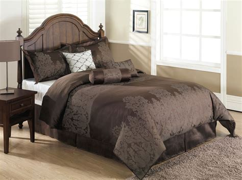 jasper 7pc jacquard comforter set brown chocolate coffee