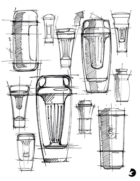 Processing 3 Sketches by Tea Tumbler Render Step By Step Process On Behance
