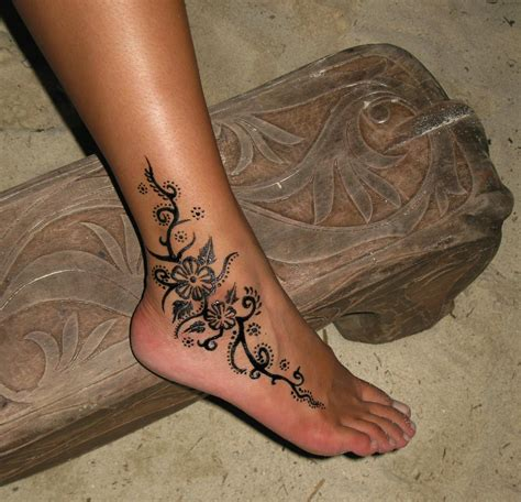 flower ankle tattoo henna flowers ankle