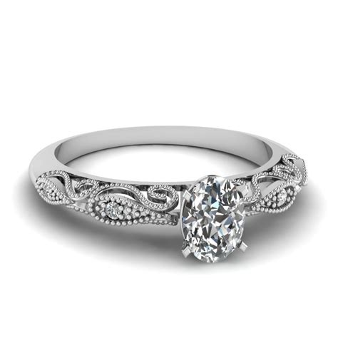 oval shaped paisley ring in 18k white gold
