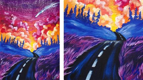 acrylic painting how to step by step acrylic painting step by step of a road and sunset