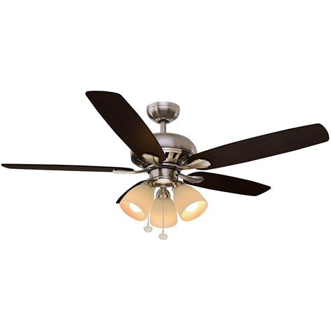 hton bay rockport ceiling fan hton bay rockport 52 in led brushed nickel ceiling fan