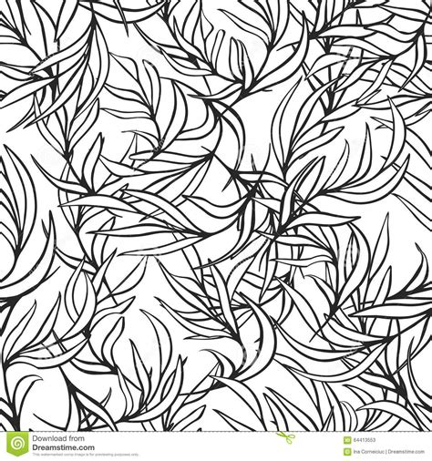 nature pattern black and white natural leaves vector seamless pattern hand drawn stock