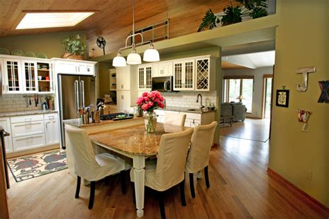 kitchen island with attached table genesee measure their home by the yard