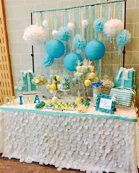 Blue Candies For Baby Shower by Blue Yellow And White Baby Shower Table