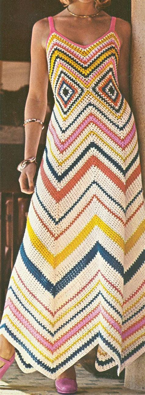 Alita Maxi 2 chevron crochet maxi sun dress pattern vintage 1970s pdf diy home cuteness crochet clothes