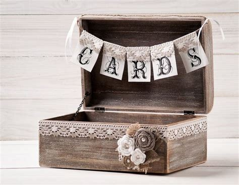 Wedding Banner Holder rustic wedding cards box holder with burlap and lace cards