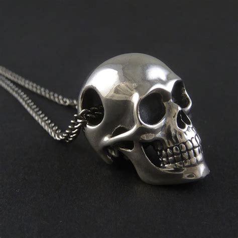 sterling silver skull skull necklace sterling silver human skull pendant on 24