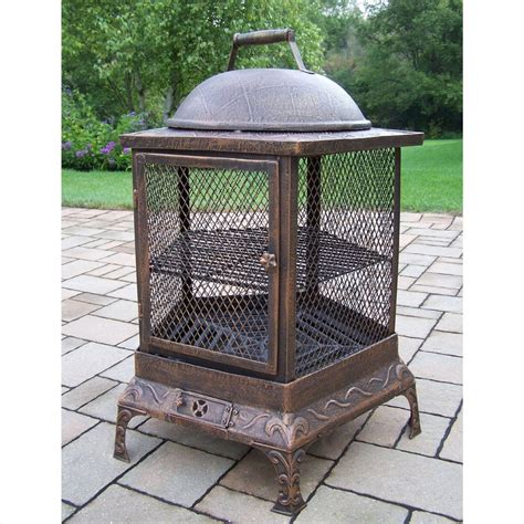 Shop Oakland Living 24 In W Antique Bronze Cast Iron Wood Wood Firepits