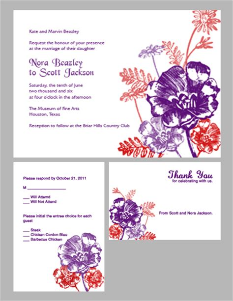 printable invitation kits com flowers wedding invitation kit plum and red wedding
